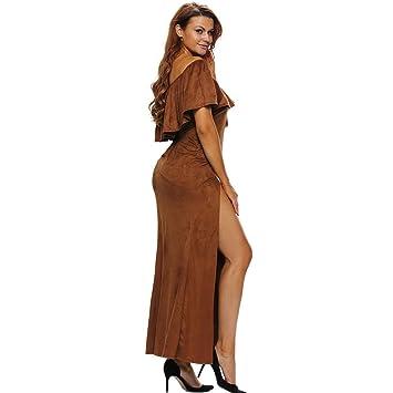 Amazon.com: Europe Prom Gown flouncing short sleeved dress split bra ...