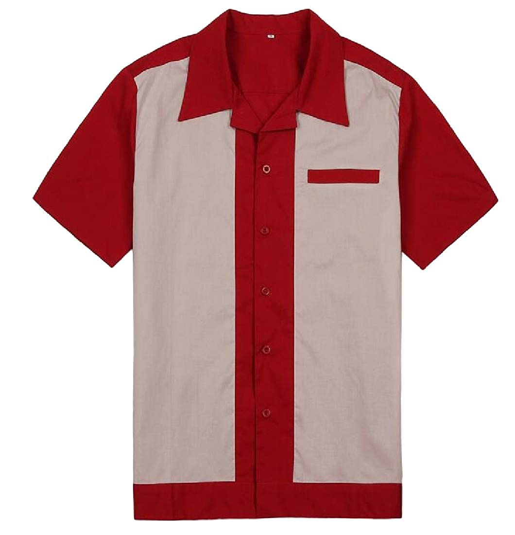 GLORYA Mens Splice Contrast Slim Fit Color Block Short Sleeve Shirt