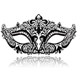 FaceWood Masquerade Mask for Women Ultralight Metal Mask Shiny Rhinestone Venetian Pretty Party Evening Prom Ball Mask.(07)