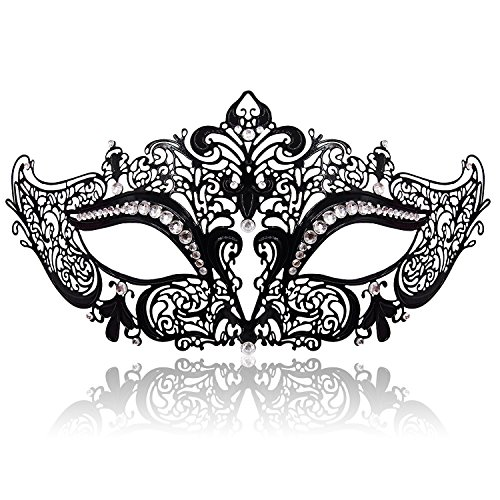 FaceWood Masquerade Mask For Women Ultralight Metal Mask Shiny Metal Rhinestone Venetian Pretty Party Evening Prom Ball Mask.(07)