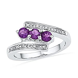 Size - 7.5 - Solid 10k White Gold Round Purple Simulated Amethyst And White Diamond Engagement Ring OR Fashion Band Channel Set 3 Stone Shaped Past present future Ring (.04 cttw)
