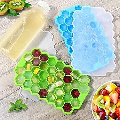 Godmorn Bandeja de Hielo,2Piezas,Bandejas para Hielo Silicona, Moldes de Cubitos de Hielo con Tapa Alimentos Grado Cubitos de Hielo sin BPA,para ...