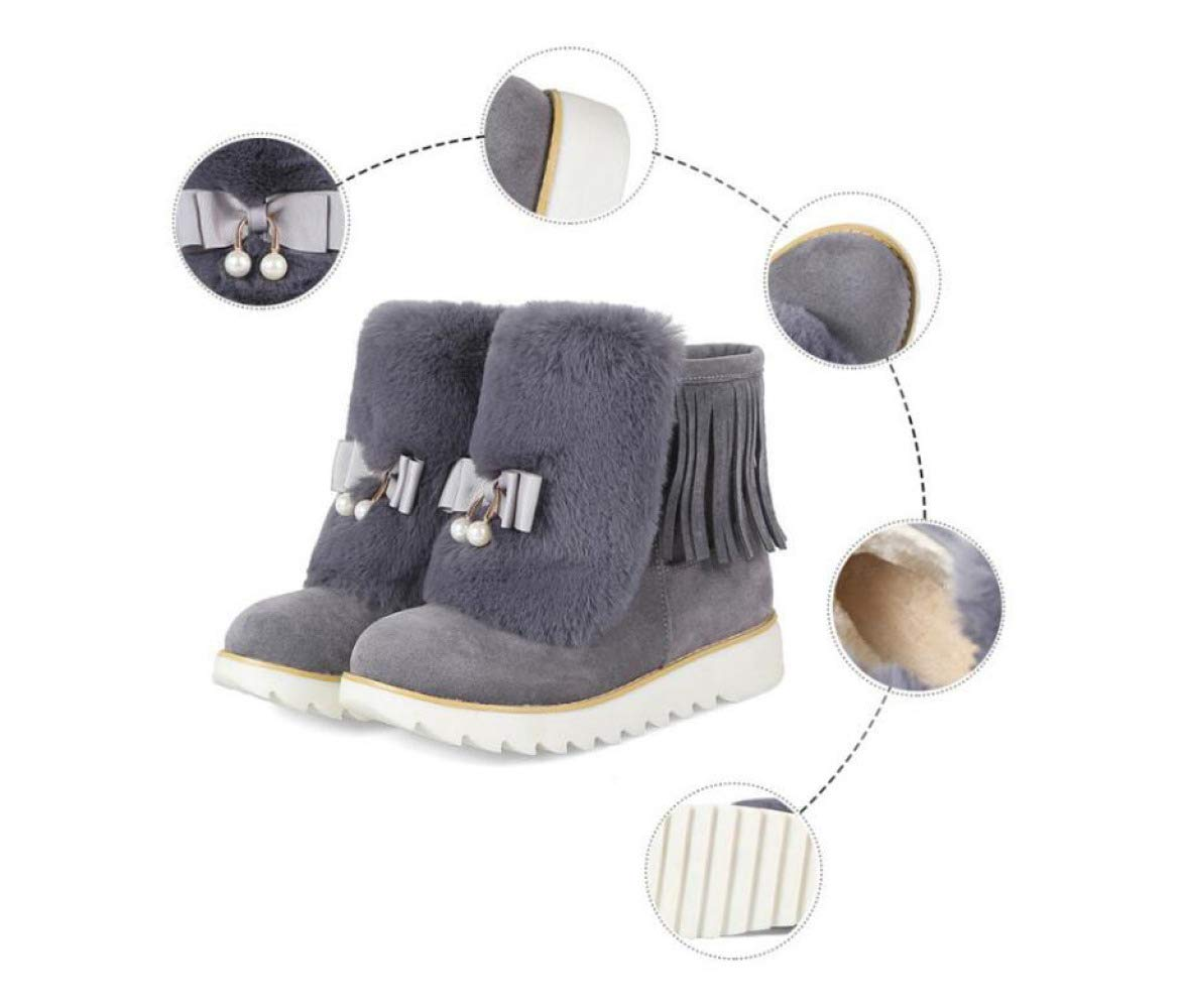 Kurze Stiefel Für Frauen, Wildleder, Erhöhte Höhe In Schneeschuhen Flache Plattform Baumwolle Schuhe  | Hohe Sicherheit  | Moderne Technologie