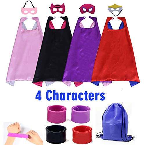 Dress up Costume Girls Superhero Capes and Mask Set 4 Charaters with Drawstring Backpack and Matching Shaped Rubber Wristbands for Kids, Birthday Party Children