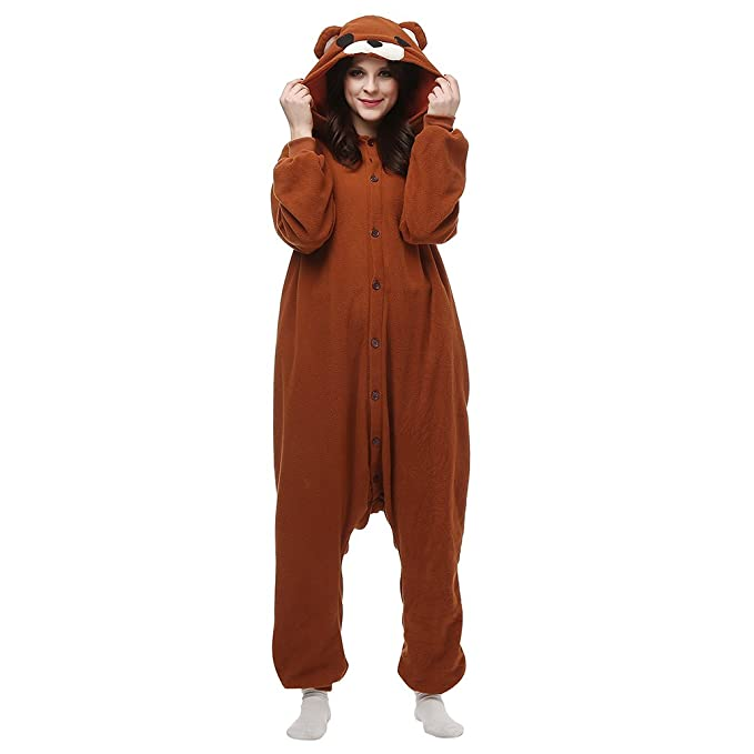 MissFox Kigurumi Pijamas Adulto Anime Disfraz Cosplay de Halloween Traje Outfit de Carnaval - Marrón Oso
