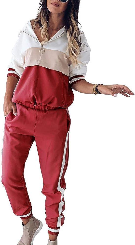 MC-Space Damen Sportanzug Set Traingsanzug mit Lange /Ärmel Zipper Top Lange Hose Sportswear 2 teilig Freizeitanzug Jogginganzug Farbn/ähte Sweatshirt