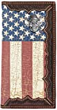 Custom Cowboy Skull American Flag Long Wallet with Distressed United States Flag