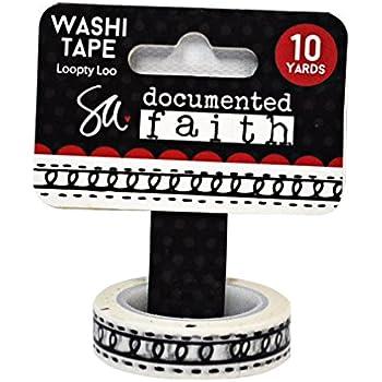 Adorn-It 23083 Documented Faith 10 yd Washi Tape Black 75 Doodle Words