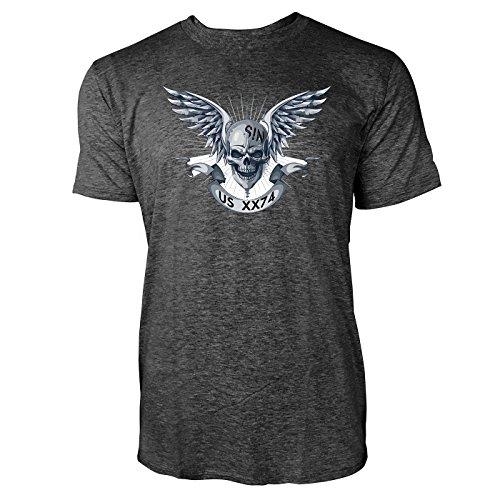 SINUS ART ® Totenkopf mit Flügeln und Banner Herren T-Shirts in dunkelgrau Fun Shirt mit tollen Aufdruck