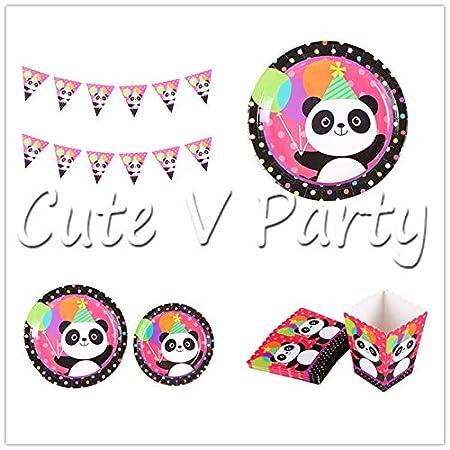 40 Unids/Lote Cartoon Panda Tema De La Fiesta De Cumpleaños ...