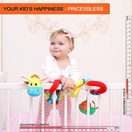 Spiral Baby Hanging Activity Toy - Wrap Around Stroller, Car Seat, Crib, Pram, Bassinet - Unique Hook & Loop System - Doesn't Stay Bunched Up and Keeps it Stretched Out + eBook & Kids Songs Included