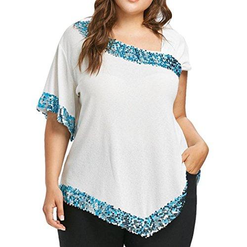 Hmlai Womens Bead Sequins Tops, Ladies Fashion Short Sleeve Blouse T-shirt Plus Size Unique Design (White, XL)