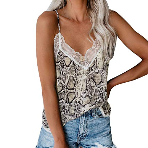 Women V Neck Snake Skin Camisole Top Spaghetti Straps Lace Blouse Vest (Brown, L)