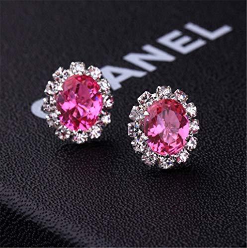 Creative Stylish Oval Diamond Earrings Multicolor Flash Diamond Zircon Earrings,Hot Pink