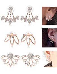 LOYALLOOK Hollow Lotus Earrings for Women Girls Fashion Flower Ear Jackets Crystal Simple Chic Stud Earrings Bar Stud Earrings Cuff Earrings Set