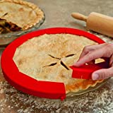 Pie Crust Shield Adjustable Reusable Pie Protectors FDA Food-safe Silicone Pie Crust Shield Fit 8.5-11.5Inch Rimmed Dish (red)