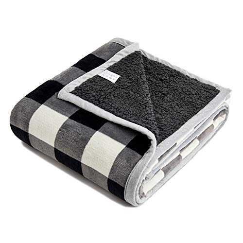 (FFLMYUHUL I U Sherpa Ultra Plush Super Soft Lightweight Throw Blanket Cozy Cabin Geometric Plaid Luxury Blanket for Bed Couch Warm Fuzzy Blanket 50''x60''Black-and-White Check)
