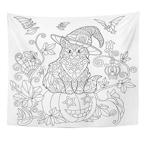 (Emvency Wall Tapestry Coloring Page of Cat in Hat Sitting on Halloween Pumpkin Flying Bats Spider Lantern with Candle Freehand Sketch Drawing Decor Wall Hanging Picnic Bedsheet Blanket 60x50)