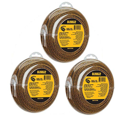 DEWALT DWO1DT802 String Trimmer Line, 225-Feet by 0.080-Inch RrTWDT, 3Pack (225-Feet)
