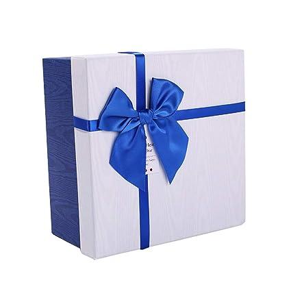 Caja de Regalo Cuadrada Azul y Blanco Cinta de Color decoración del Arco cumpleaños Embalaje (