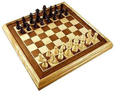 "16"" Deluxe Inlaid Wood Chess Set w/Pieces"