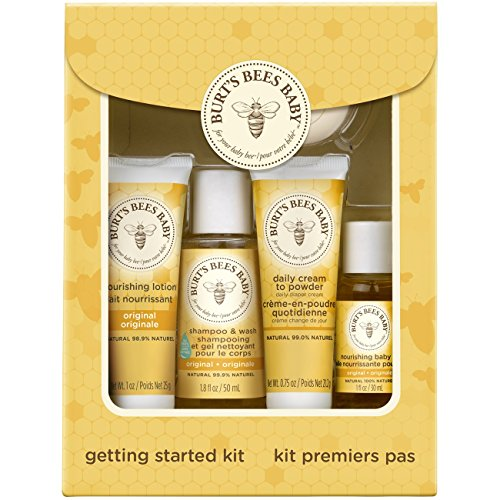 Cleansing Gift - Burt's Bees Baby Getting Started Gift Set, 5 Trial Size Baby Skin Care Products - Lotion, Shampoo & Wash, Daily Cream-to-Powder, Baby Oil and Soap