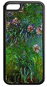 Claude Monet's Agapanthus- Case for the APPLE IPHONE 5, 5s-Hard Black Plastic Outer Case with Tough Black Rubber Lining