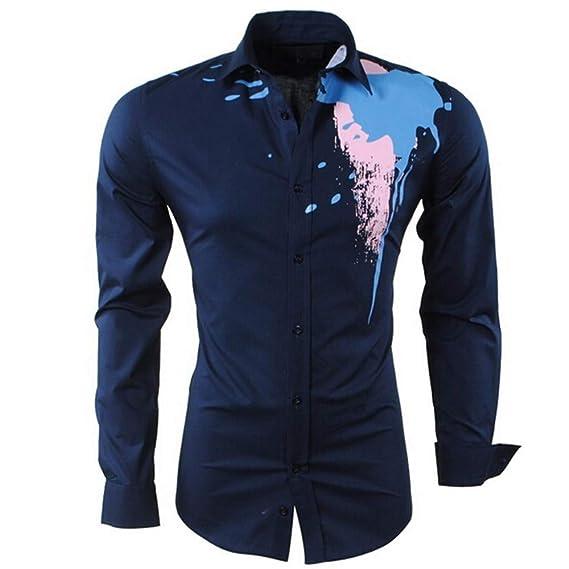Rawdah_Camisetas De Hombre Manga Larga Camisa De Manga Larga Estampada con Mangas Largas, Informal, para Hombres Camisetas De Hombre: Amazon.es: Ropa y ...