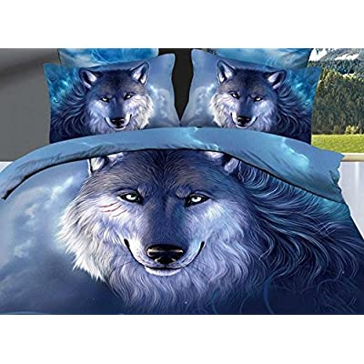 Ammybeddings Kids 3D Blue Wolf Bedding Sets Twin 4 Piece 400 Thread Count 100% Cotton Girls Boys Duvet Cover Sets Special Oil Painting Wolf Bedset Home Decoration: Home & Kitchen