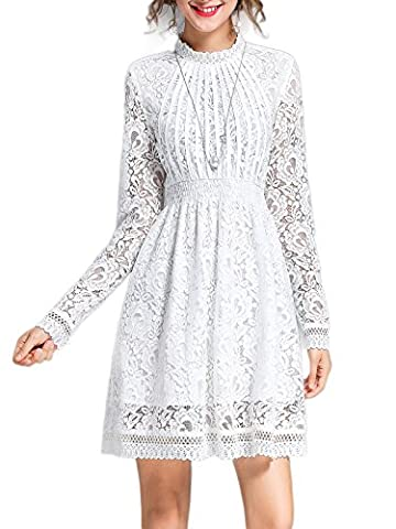 MissLook Women's Stand Collar Guipure Floral Lace Elegant Long Sleeve Fit and Flare Mini Dress - White - Flare Mini Dress