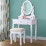 Joolihome Makeup Vanity Table Set White Wooden Dressing Table Bedroom with 3 Drawers and Stool for Women(3 Drawer 1 Mirror)