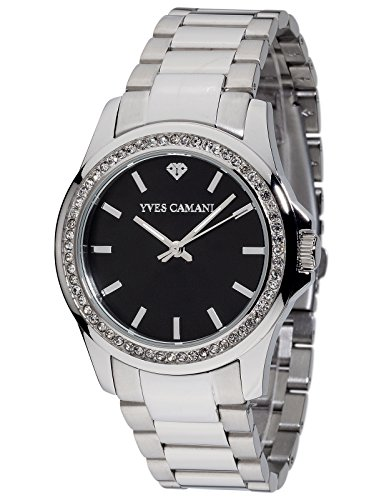 Yves Camani Montpellier Women's Wrist Watch Quartz Analog Stainless Steel Black Dial