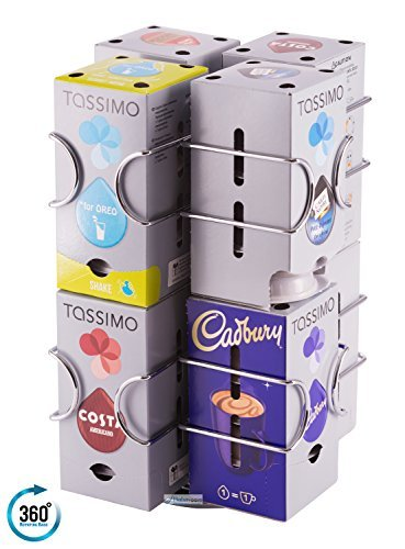 T20 Capsule - Tassimo Pod Holder | Holds 64 Pods on a ROTATING Base | No Stacking Required | Unbeatable Quality Guaranteed Babavoom T7