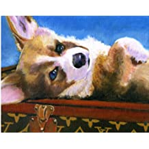 Original Painting By Philo of This Pembroke Welsh Corgi on Haute Couture Luggage 11x14 Fine Art Print