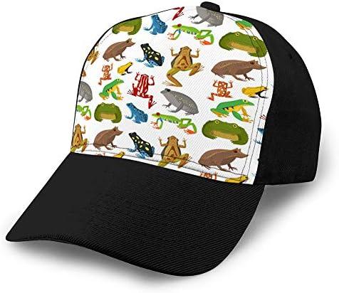 837 Unisex Baseball Cap Trucker Hat Adult Cowboy Hat Hip Hop Snapback Frosch Cartoon Tropische Tierwelt grün Sun Cap