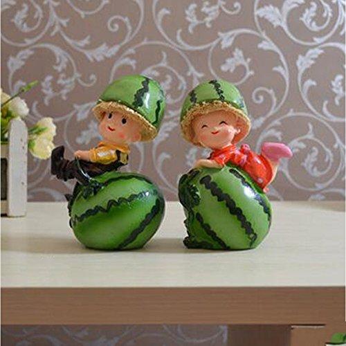 WuKong Green Cute Seasonal Décor Couple Doll Watermelon Figurines for Desktop