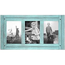 4x6 Turquoise Blue Collage Distressed Wood Frame - Made to Display Three 4x6 Photos - Ready To Hang or Stand With Built in Easel