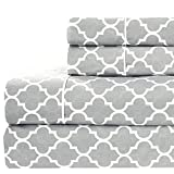 Meridian Gray and White Brushed Percale Cotton Sheets, 4pc Queen Bed Sheet Set