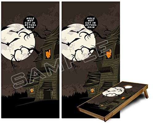 Cornhole Bag Toss Game Board Vinyl Wrap Skin Kit - Halloween Haunted House (fits 24x48 game boards - Gameboards NOT INCLUDED) -