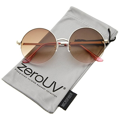 zeroUV - Retro Metal Frame Thin Temple Semi-Rimless Round Sunglasses 53mm (Gold-Pink / - Victoria Pink Beckham Sunglasses