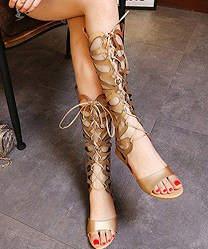 NiSeng Mujer Sandalias Estilo Romano Correas Cruzadas Gladiadoras Sandalias Punta Abierta Sandalias Dorado