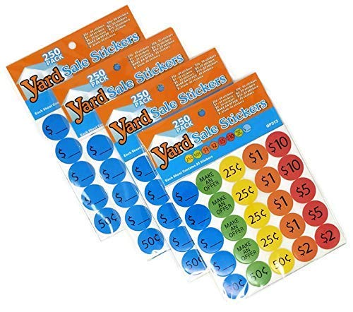 Garage Sale Pricing Stickers - Preprinted Bright Multicolored Removable, 1 Inch Diameter (1000 Count)