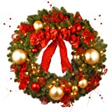National Tree 36 Inch Decorative Collection Cozy Christmas Wreath with 100 Red and Clear Lights (DC13-104L-36W)