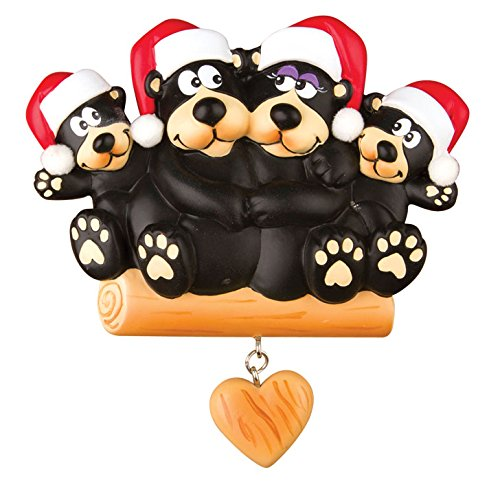 PERSONALIZED CHRISTMAS ORNAMENTS FAMILY KIT-BLACK BEAR FAMILY OF 4 - Customized Eyewear