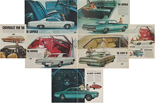 "1966 CHEVROLET CAPRICE, IMPALA, CHEVELLE, CHEVY II,CORVAIR, CORVETTE, EL CAMINO & SPORTVAN ""Chevrolet for '66"" HUUGE VINTAGE LOT of 7 COLOR ADS - USA - AWSOME ORIGINAL !!"