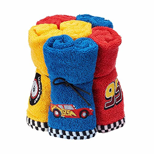 Jumping Beans Disney Pixar Cars 100% Cotton Terry Cloth Pack of 6 Washcloths for Kids - 12