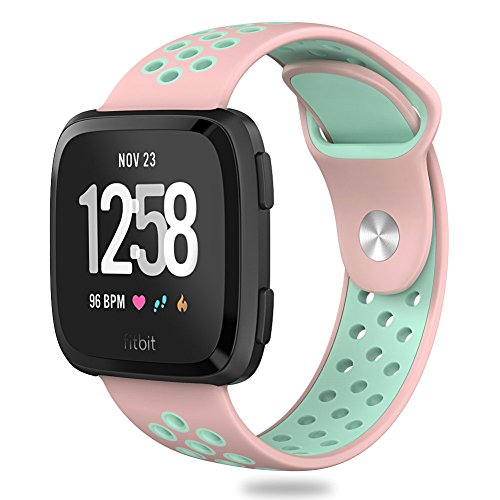Hagibis Compatible Fitbit Versa Bands Sport Silicone Replacement Breathable Strap Bands New Fitbit Versa Smart Fitness Watch (Teal&White)