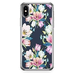 Loud Universe Phone Case Fits iPhone XS Floral Dark Phone Case Trendy Flowers Transparent Edge iPhone XS Case