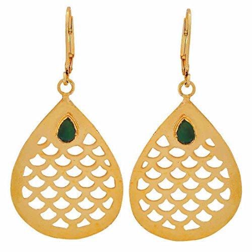 Maayra College Filigree Earrings Green Bronze Dangler Drop Dailywear Jewellery by Maayra