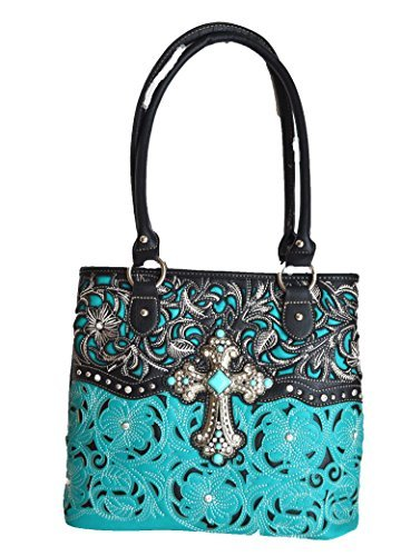 cowgirl western floral stitched handgun carry turquoise cross rhinestone purse (Black)